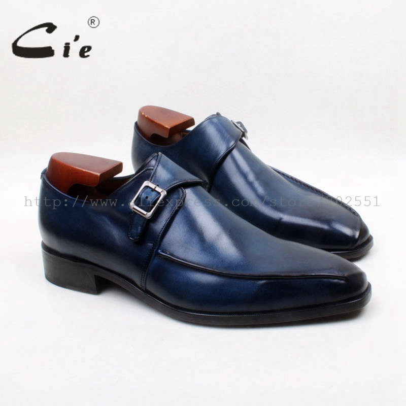 cie Square Toe Handmade Hand-Painted Patina Single Monk Straps 100%Genuine Calf Leather Breathable Bottom Outsole Men ShoeMS131 cie round toe wing tips single monk straps hand painted brown 100%genuine calf leather breathable bottom outsole men shoems129