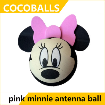 cocoballs pink bow automobile antenna balls car aerial toppers 10pcs/lot
