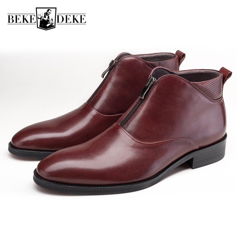 Luxury Cowhide Genuine Leather Boots Men Black Wine Red Autumn Winter Work Chelsea Boots Round Toe