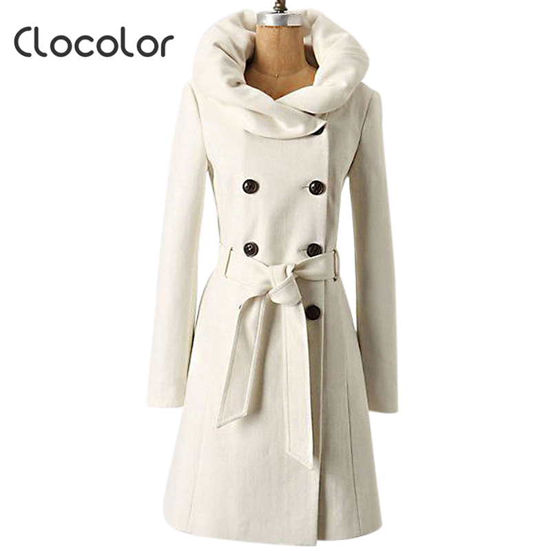 Clocolor Women White Winter Slim Wool Blends Coat Heap Collar ...