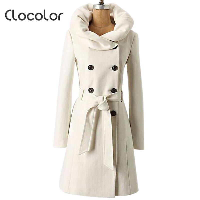 Clocolor Women White Winter Slim Wool Blends Coat Heap Collar ...