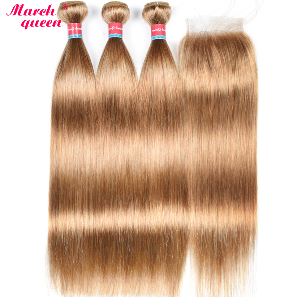 March Queen Brazilian Hair Straight 3 Bundles With Closure 27 Honey Blonde Color Hair Human Hair