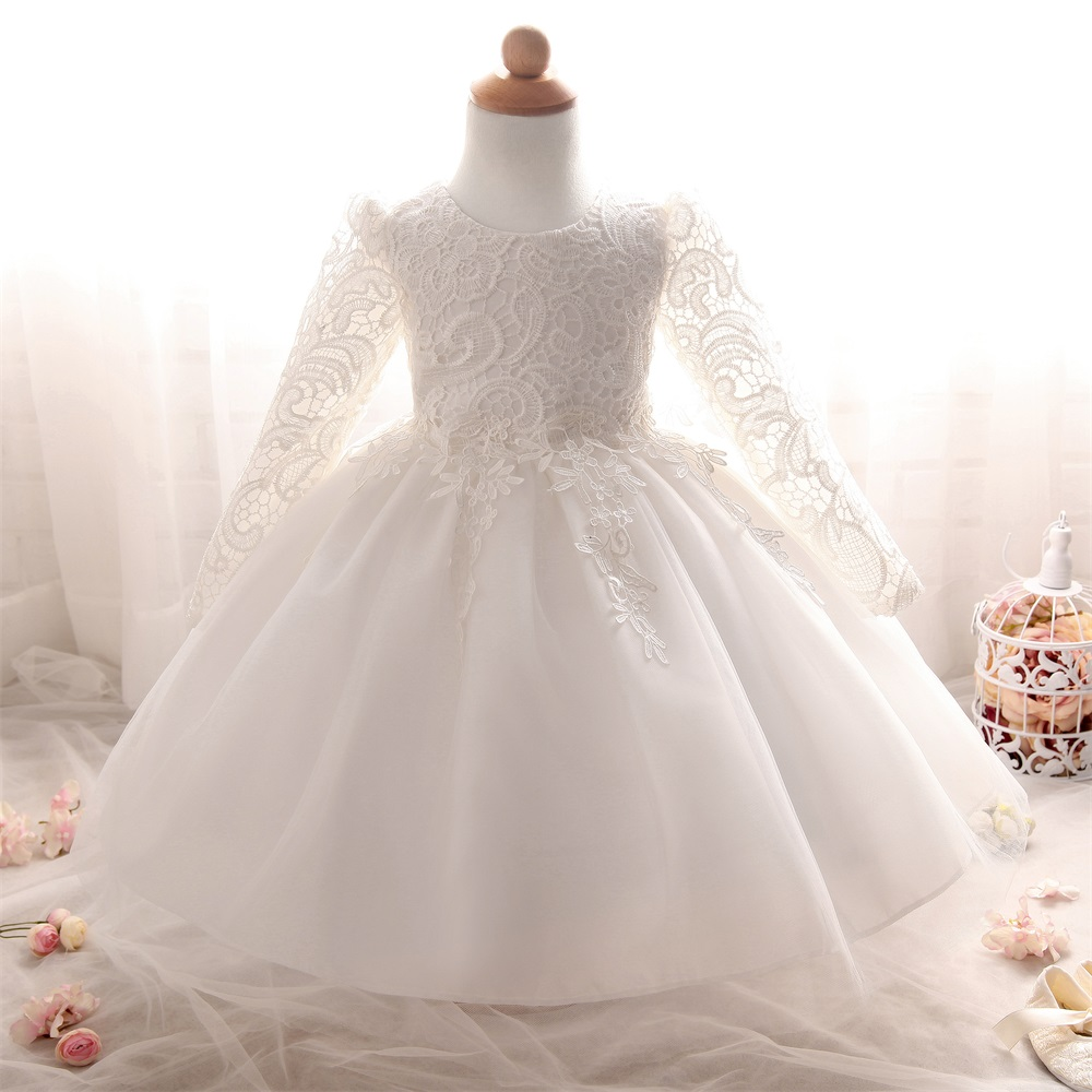 Flower Baby Girl infant Dress Wedding Princess Girls Dresses 1 Year Birthday Kids clothing Long Sleeves Party dress Girl Clothes