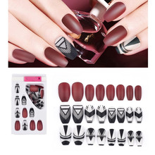 24 Tips/Set Fashion Fake Nails Elegant False Plastic Nail Art Tips Ballerinas Full Cover French with Glue