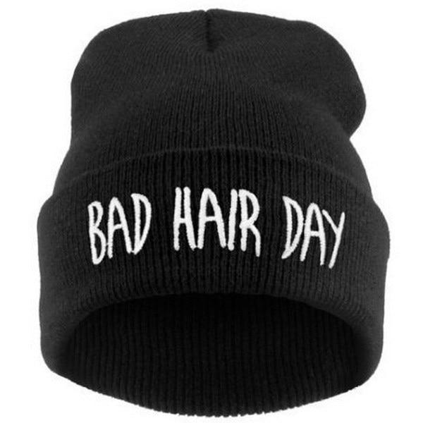 Beanie   Bad Hair Day   Beanie   Cap Women Cotton Blend Letter Printed Knitted Winter   Beanies   Hiphop Hats Caps Cheap