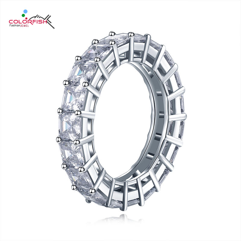 COLORFISH 925 Sterling Silver 4mm Engagement Wedding Eternity Rings For Women Asscher Cut 0 5ct Anniversary