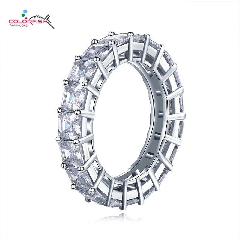 COLORFISH 925 Sterling Zilveren 4mm Engagement Wedding Eternity Ringen Voor Vrouwen Asscher Cut 0.5ct Anniversary Band Bridal Ring-in Trouwringen van Sieraden & accessoires op  Groep 1