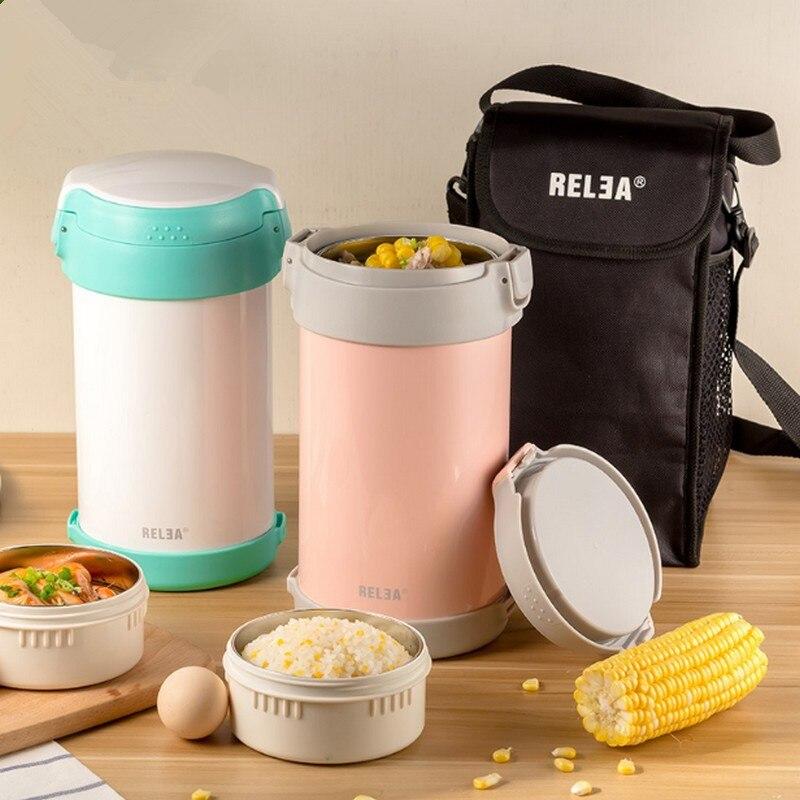 Acciaio Inossidabile di alta Qualità Giapponese Thermo Lunch Box 3 Tiers Isolato Lunch Cooler Bag Contenitore di Alimento di Vuoto vaso Di Conservazione Degli Alimenti