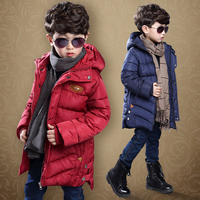 Children boys Winter Coat 2018 NEW Fashion Fur Hooded Thick Cotton Down Warm Clothes Solid Long Kids Parka Jacket Outwears 6 10