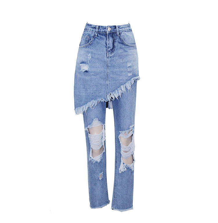 2017 Apparel Boyfriend hole ripped jeans women pants Cool denim vintage straight jeans for girl Mid