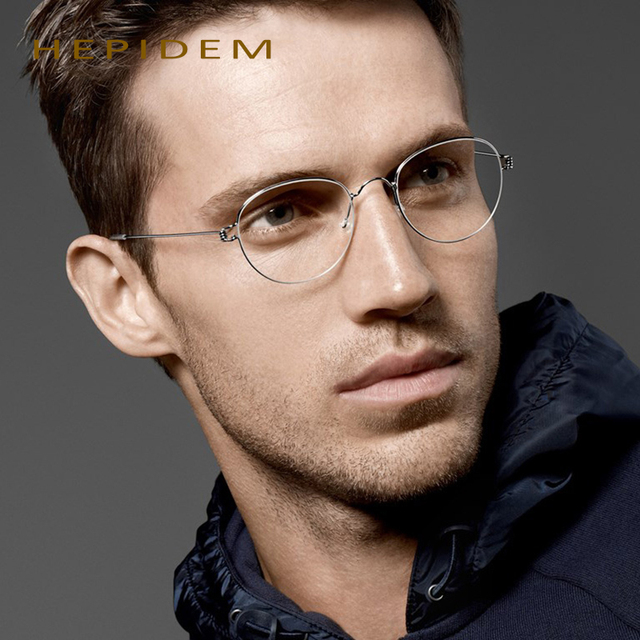 Hepidem llanta serie oliver gafas retro marco hecho a mano marco titanium de los hombres de los vidrios de la miopía anteojos gafas de grau h801