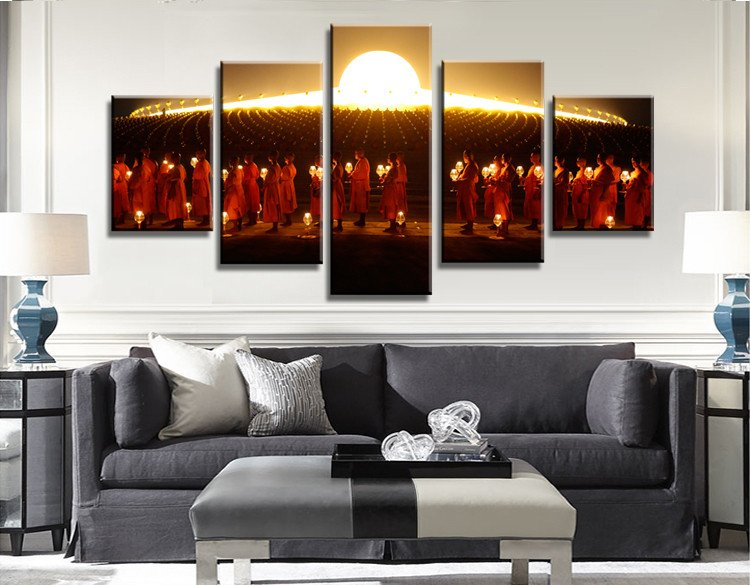 The March Of Monks Canvas Painting Wall Art 5 Pieces