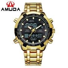 Amuda famosa marca los hombres del deporte relojes digitales para hombre reloj impermeable relogio masculino militar ocasional de los hombres reloj de oro