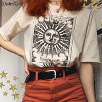 Weirdgirl women casual fashion t-shirt khaki letter sun moon print loose o-neck half sleeve elastic stretched summer home new