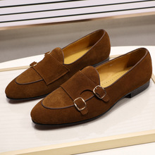 Fashion Design Suede Leather Mens Loafers Black Brown Green Casual Dress