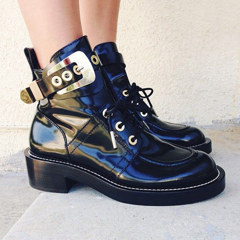 Hot Autumn Winter Shoes Woman Casual Ankle Boots Lace Up Metal Buckles Designer Woman Leather Boots Square Heels Woman Boots цена