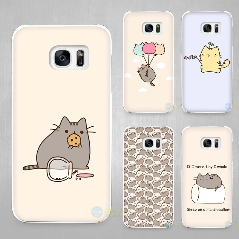 pusheen the cat hard hard white coque shell case cover cover phone cases for samsung galaxy. Black Bedroom Furniture Sets. Home Design Ideas