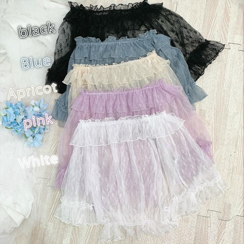 Summer Soft Sister Lolita Top Jsk Dress Lolita With Ruffled Trumpet Sleeves Bud Silk Gauze Blouse Top