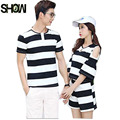 Summer Couples Lovers Clothes Cute Sweet Tops Hollow Out Off Shoulder Black White Striped Girl Two Piece Matching Couple T Shirt