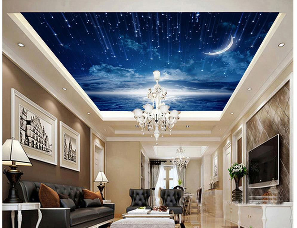 custom photo murals Home Decoration Moon sky zenith fresco 3d customized wallpaper sky ceiling wallpaper