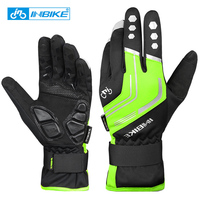 INBIKE Winter Cycling Gloves Full Finger Gel Padded Thermal Bicycle Gloves Touch Screen Windproof Men Sports