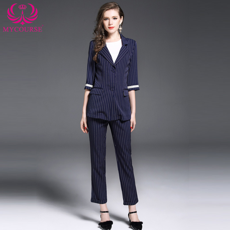 MYCOURSE 2017 New Autumn and Winter Fashion Womens Costumes Plaid Blazer With Striped Pencil Pants Set Female Office Suit Set