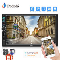 Podofo Car Radio MP5 2 Din Bluetooth HD 7 Touch Screen 12V In dash FM Autoradio Auto Media Player with IOS/Android Mirror Link
