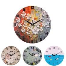 Big Wall Clock Modern Design Flower Butterfly Fish Pattern Print Silent Movement