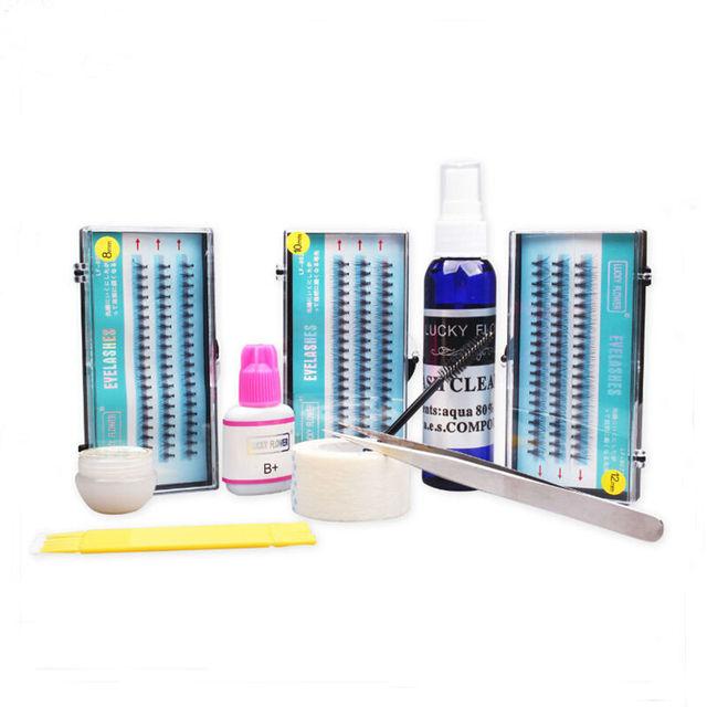 Profesional juego de extensión de pestañas gruesas pestañas falsas + pegamento de pestañas pestañas glue remover clean tool set