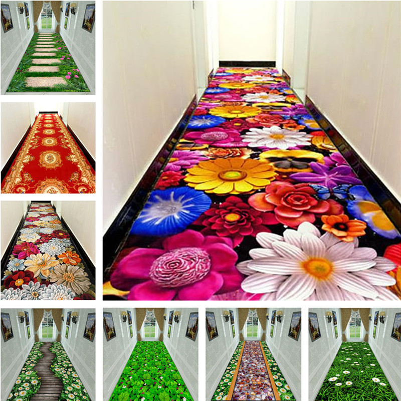 3D Creative Flower Grass Carpet Hallway Mat Bedroom Living Room Rugs Kitchen Bathroom Floor Mats Large Rugs Customized