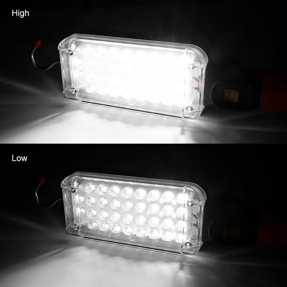 Linternas de trabajo de 34 SMD LED 360°rotación de la lámpara de trabajo de reparación del coche 18650 Powered linterna con imán gancho linterna de camping para carpa