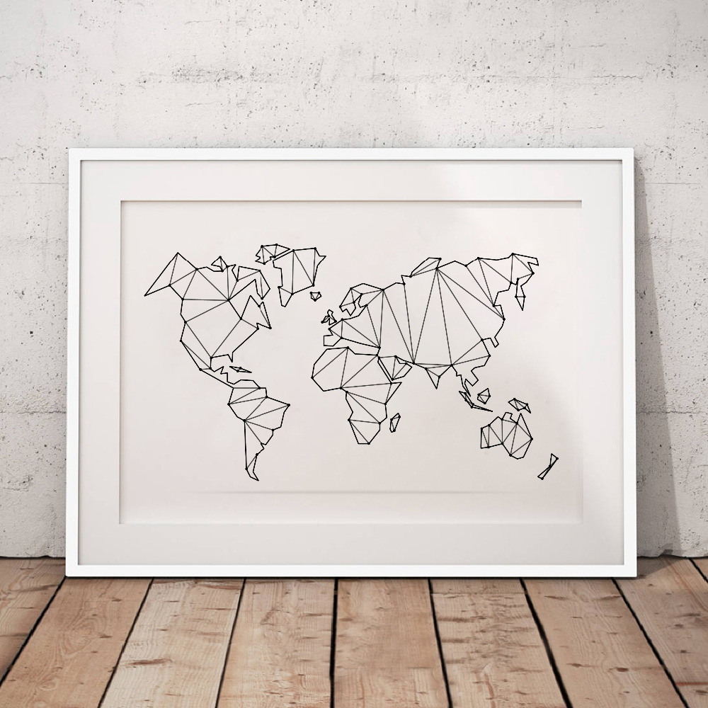 Abstract World Map Canvas Art Print Wall Pictures , Geometric Low Poly Map Of World Poster Canvas Painting Home Decoration