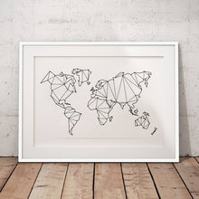 Abstract World Map Canvas Art Print Wall Pictures , Geometric Low Poly Map Of World Poster Canvas Painting Home Decoration(China)