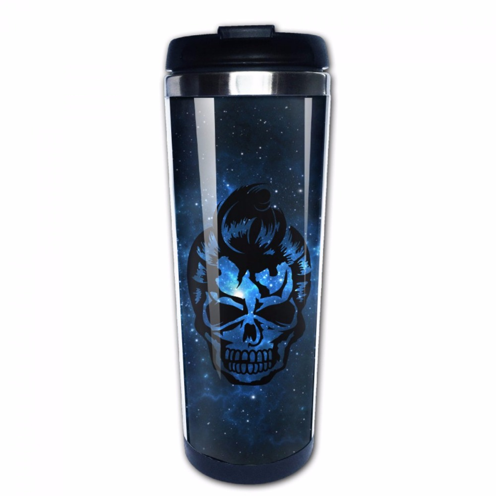 Perfect Gift!Creative DIY Travel Coffee Mug - Insert your travel photos Spill Proof Double Insulation Skull Tumbler