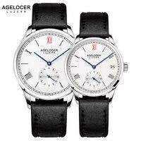 Agelocer Роскошные брендовые механические часы любителей мужской женский часы Для женщин Для мужчин часы час платье браслет часы Relogio Masculino