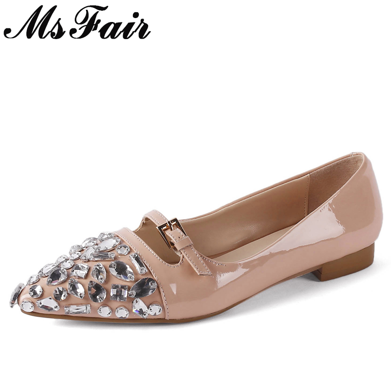 MsFair Pointed Toe Low Heel Pumps Shoes Woman Fashion Metal Buckle Crystal Single Shoes Ladies Shoes 2018 Shallow Zapatos Mujer 2018 spring summer low heel sandals pointed toe shallow mouth women shoes woman cozy casual shoes leisure single ladies shoes cy