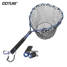 Goture Fishing Net Landing Net with Magnetic Clip Lanyard Aluminum Alloy Frame Soft Rubber Mesh EVA Handle