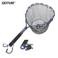Goture Fishing Net Landing Net With Magnetic Clip Lanyard Aluminum Alloy Frame Soft Rubber Mesh EVA