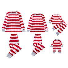 hot deal buy 2019 christmas family matching outfits christmas pajamas set women baby kids family striped pyjamas kids photography clothes set