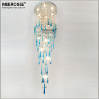 Luxury Stair Lighting For Ceiling Blue Crystal Ceiling Light Fixture Golden Yellow Hotel Flush Mount Lamp