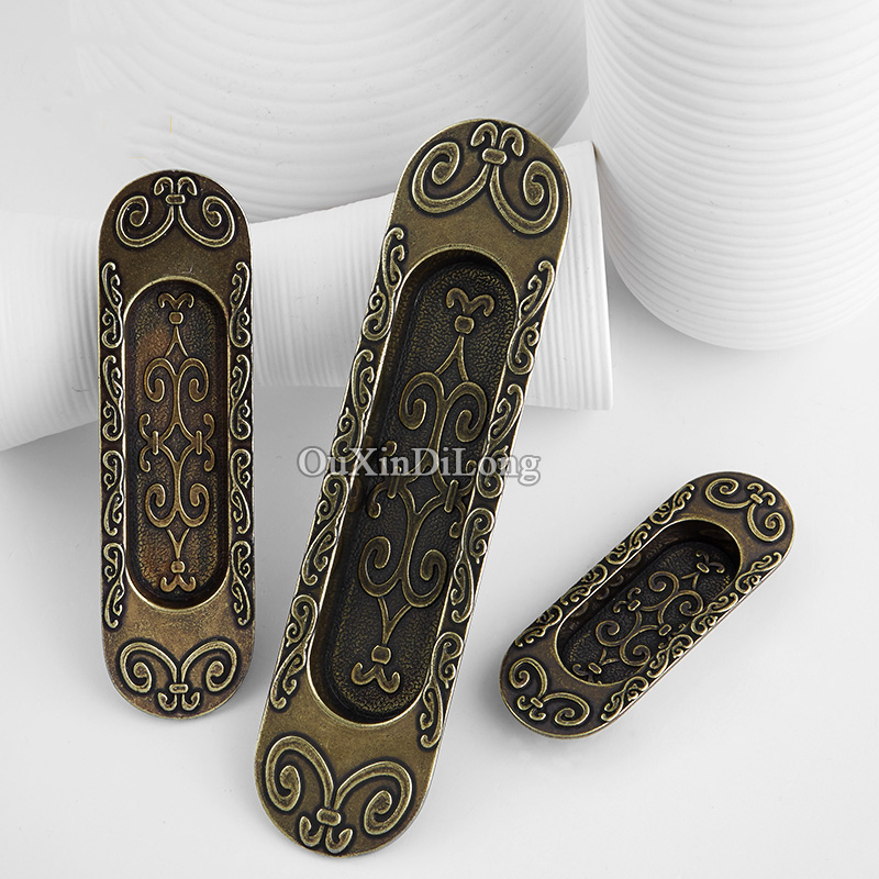 Top Quality 10PCS Embedded Cabinet Sliding Door Furniture Handles Concealed Cupboard Drawer Wardrobe Cabinet Pulls Handles&Knobs