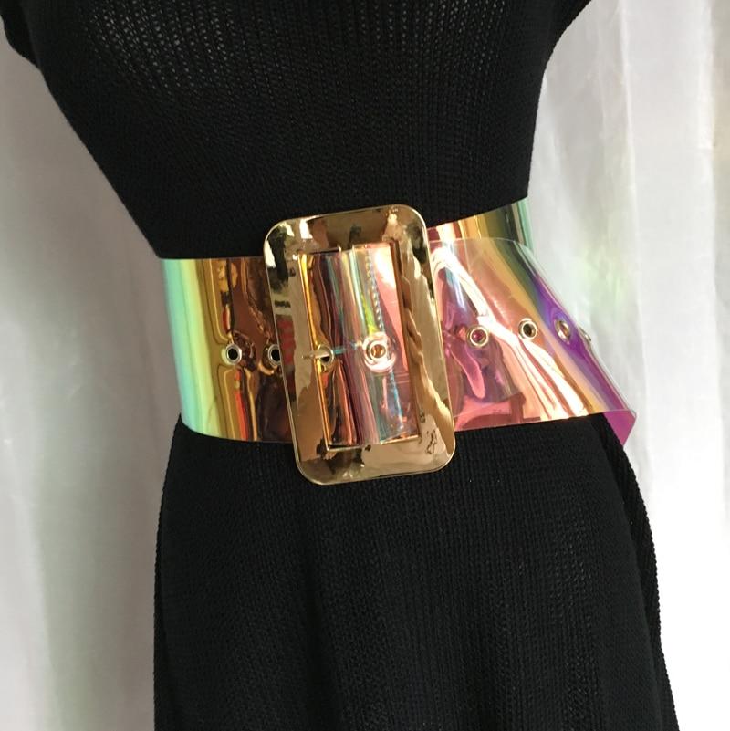 DKBLINGS 2018 new hot sell women fashion laser   belt   plastic wide gradient color jelly   belt   9cm wide