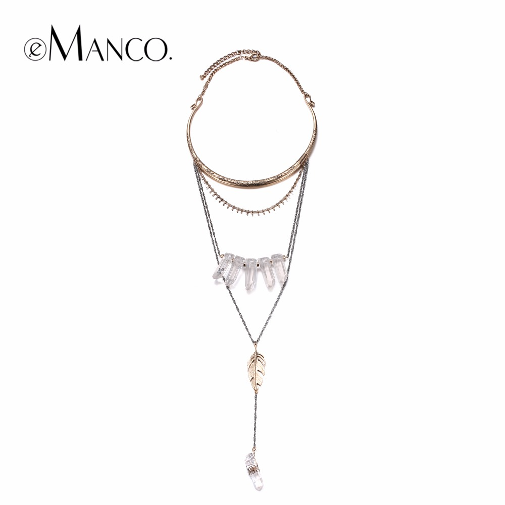 eManco Fashion Multi Layer Chain Statement Necklace Pendant Women Imitation Stone Resin Metal Gold Plated Brand