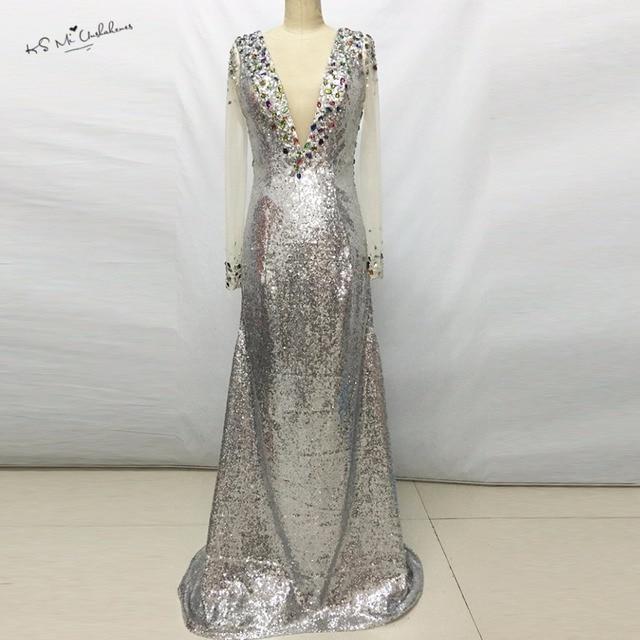 2017 Shimmering Silver Sequins Long Sleeves Formal Evening Dresses  Transparent Mermaid Crystal Long Prom Dress Vestido 8e010f31e9d5