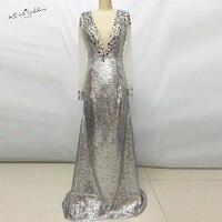 2017 Shimmering Silver Sequins Long Sleeves Formal Evening Dresses Transparent Mermaid Crystal Long Prom Dress Vestido De Festa