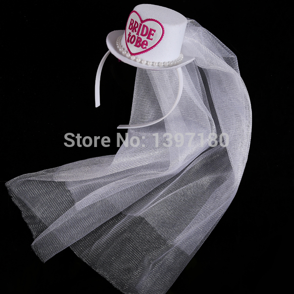 Bridal mini top hat with veil wedding accessories Bachelorette Party  supplies Hens night out matching wedding dress event favor 38f23d18a83