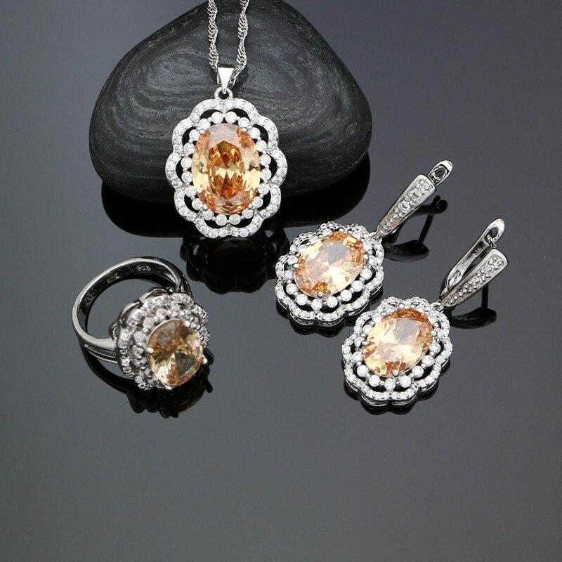 Bridal-Jewelry-Sets Necklace-Set Earrings Pendant Crystal 925-Silver Cubic-Zirconia Women