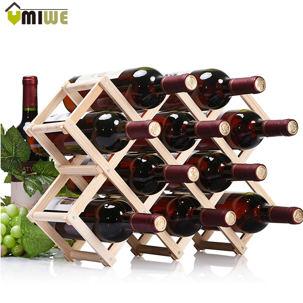 Creative Foldable 10 Bottle Wooden Wine Beer Bottle Rack Organizer Holder Mount Kitchen Bar Display ShelfStorage