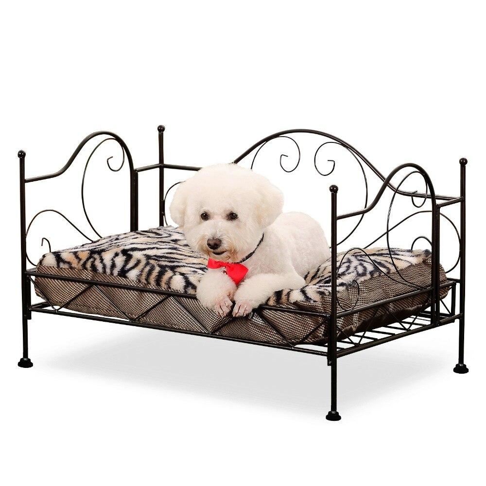Binnenlandse Levering Luxe Huisr Bed Metalen Frame Voor Honden Huisren House Puppy Kat Kussen Matten Meubels Tijger Zebra In