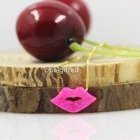 (1 pz/lotto) bella 15*8mm OP55 Mimosa Rosa Opal Collana del Labbro Amore Bacio Collana con 925 Sterling Silver Catena D'oro prezzo a buon mercato